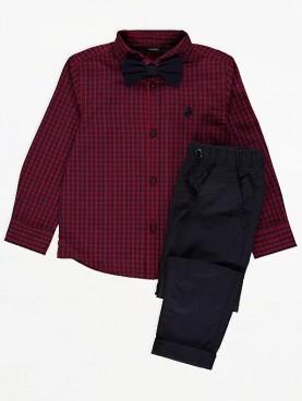 карирана, риза, панталон, чино, подгъв, връзки, закопчаване, копчета, момче, папионка
