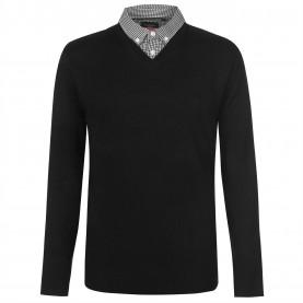 мъжки,пуловер,мъжки,пуловери,pierre,cardin,mock,v,neck,knit,jumper,mens,black
