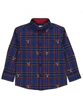 детска,риза,george,christmas,reindeer,shirt,blue,синьо,яка,каре