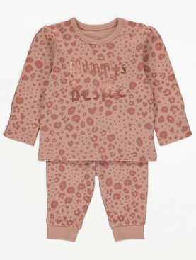 бебешки,комплект,розов,леопардово,george,памук,пижама,долно,горно