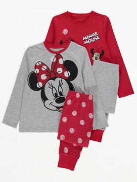 детски,пижами,minnie,mouse,disney,george,червени,сиви,щампа,памук,мек,red,grey