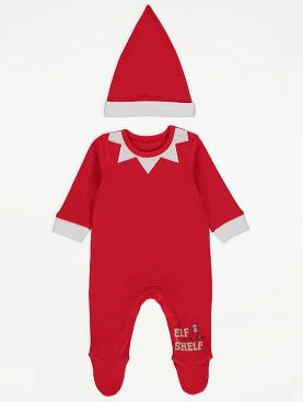 бебешки,дрехи,комплект,коледа,шапка,elf,on,a,shelf,george,christmas,елф,червен,памук