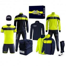 мъжки,екипи,всички,футболни,облекла,футболни,анцузи,zeus,apollo,football,kit,teamwear,box,12,pieces,navy,neon,yellow
